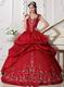 Modest Straps Embroidered Quinceanera Party Dress Wine Red