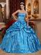 Embroidered Puffy Floor Length Skirt Azure Quinceanera Dress