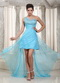 Top High-low Prom Dress With One Shoulder Aqua Blue Chiffon Skirt Night Club