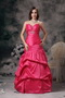 A-line Sweetheart Floor-length Taffeta Fuchsia Party Dress Night Club