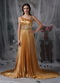 Dark Gold Asymmetrical Neck Ruched Formal Dress Noble Night Club