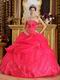 Strapless Ball Gown Embroidery Deep Pink Quinceanera Gown