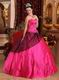 Stylish Deep Rose Pink Embroidery 16th Girls Party Dress