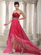 Fuchsia and Hot Pink Layers High-low Dress For Prom Wear Short and Long Skirt