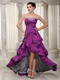 Violet Short Front Long Train Taffeta Prom Dress With Zebra Inside Short and Long Skirt