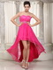 Hot Pink Hi-Lo Design Prom Celebrity Dress Lace Inside Emberllish Short and Long Skirt