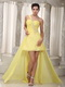 Yellow High-low Prom Dresses With Handmade Beaded For Girl Short and Long Skirt