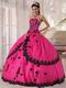 Strapless Fuchsia Sweet 16 Quinceanera Gown With Black Applique