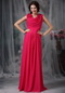 V-neck Hot Pink Chiffon Dress For Mother Of Bride Wear Modest
