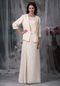 Champagne Chiffon Beaded Mather Of Bride Dress And Coat Modest