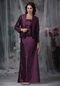 Dark Purple Lace Up Mather Of Bride Dress And Coat Modest