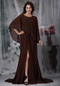 Brown Chiffon Split Skirt Mather Of The Bride Dress With Vest Modest