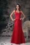Petite Halter Column Wine Red Mother of the Bride Dress Modest