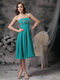 Empire Knee-length Turquoise Mother Of The Bride Dress Modest