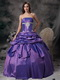 Lavender Ball Gown Strapless Floor-length Taffeta Appliques Prom / Evening Dress Modest