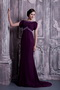 Bateau Dark Purple Chiffon Mother Of The Bride Dress Cheap Modest