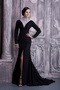 Black Column High-neck Mother Of The Bride Dress Long Sleeves Modest