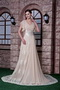 Modest V-neck Champagne Chiffon and Lace Mother Of Bride Dress Modest