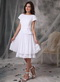 Bateau Neck White Chiffon Short Mother Of The Bride Dress Modest