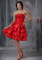 Strapless Ruffled Layers Scarlet Short Dress For Prom Wear Knee Length Sexy