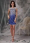 Royal Blue Scoop Backless Mini-length Crystals Short Prom Dress Knee Length Sexy