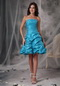 Mini-length Teal Taffeta Beading Sweet 16 Dresses And Gowns Knee Length Sexy