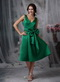 Dark Green V-neck Short Prom Dress Knee Length Cheap Knee Length Sexy