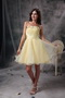 Yellow Strapless Knee-length Orangza Short Beaded Prom Dress Knee Length Sexy