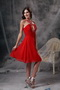 V-neck Knee-length Red Chiffon Beaded Prom Dress Short Knee Length Sexy