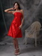 Strapless Knee-length Scarlet Taffeta Short Prom Dress Knee Length Sexy