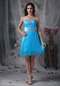 Bright Sky Bule Sweetheart Short Prom Dress Made By Net Knee Length Sexy