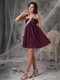 Empire One Shoulder Chiffon Short Prom Dress In Dark Purple Knee Length Sexy