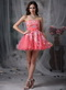 Watermelon Strapless Appliqued Mini Prom Dress Sexy Knee Length Sexy