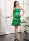 Fresh Green Knee Length Prom Dress With Spaghetti Straps Knee Length Sexy