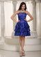 Column Royal Blue Prom Dress With Pretty Printed Flowers Knee Length Sexy