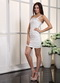 White Column One Shoulder Cocktail Dress Ruched Skirt Knee Length Sexy