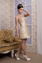 Champagne Column Strapless Mini-length Taffeta Homecoming Dress Knee Length Sexy