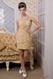 Column One Shoulder Mini-length Champagne Chiffon Prom Dress Short Knee Length Sexy