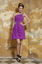 One Shoulder Purple Mini-length Chiffon Short Prom Dress On Sale Knee Length Sexy