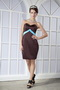 Brown Sweetheart Mini-length Prom Dress With Sky Blue Bowknot Knee Length Sexy