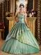 Strapless Appliques Celadon Green Adult Ceremony Dress