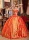 Appliqued Strapless Sleeveless Orange Red Quinceanera Dress