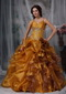 Spaghetti Straps Ruffled Yellow Quinceanera Dress With Flowers Like Princess