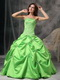 Spring Green Floor Length Ball Dress For Quinceanera Girls Like Princess