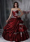 Strapless Burgundy Pretty Quinceanera Dress With White Appliques Like Princess
