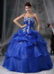 Royal Blue Ball Gown Quinceanera Dress With Embroidery Like Princess