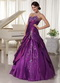 Taffeta and Organza Dark Purple Sweetheart Quinceanera Gowns Like Princess