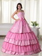Rose Pink Beaded Layers Floor-length Ball Gown For Girls Like Princess