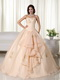 Champagne Organza Quinceanera Dress With Embroidery Emberllish Like Princess