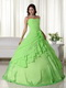 Spring Green Floor-length Chiffon Quinceanera Dress 2014 Like Princess